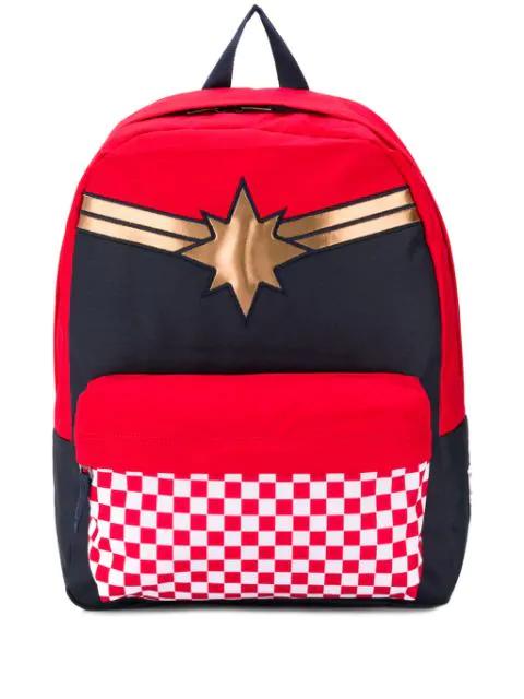 uk myymälä tukkukauppa kuuma myynti Captain Marvel Collaboration Backpack in Red