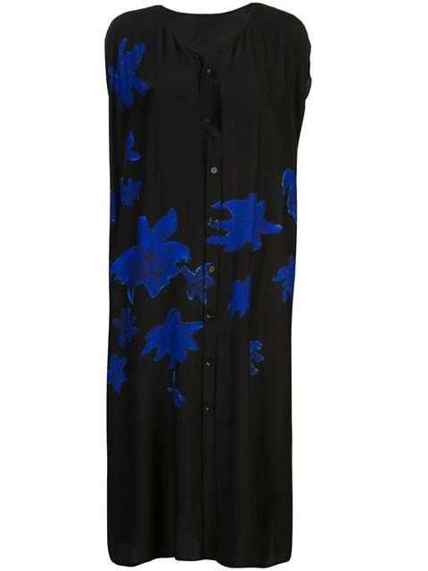 Yohji Yamamoto Printed Shirt Dress In Black