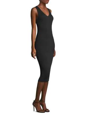 Michael Michael Kors Sleeveless Ottoman-Knit V-Neck Dress, Black