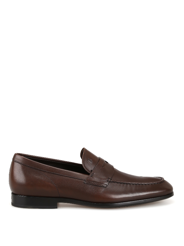 Tod's Tapered Toe Dark Brown Leather Loafers