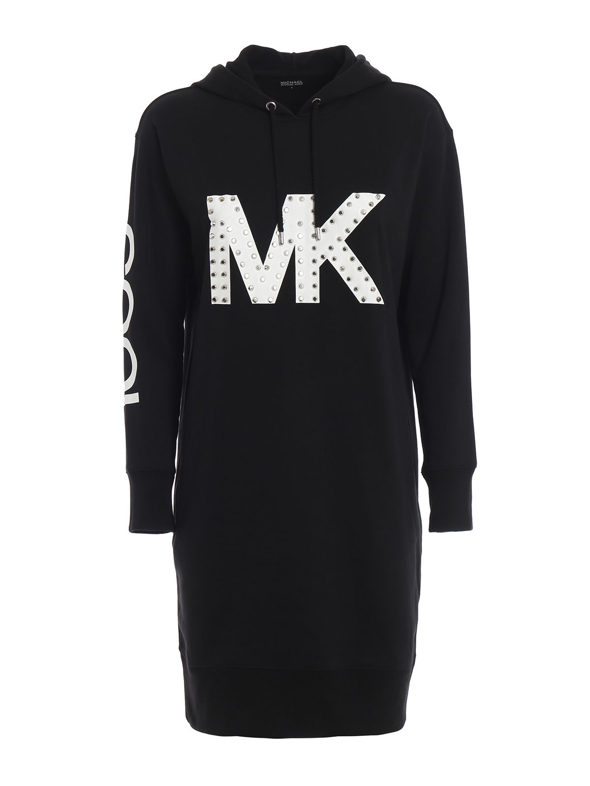 813be2a19bd Michael Michael Kors Studded Mk Logo Hoodie-Style Dress In Black ...
