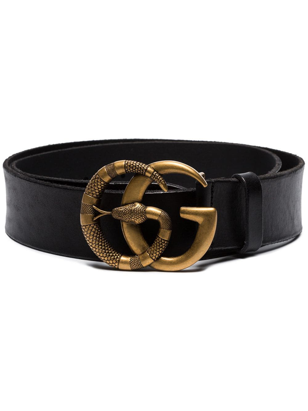f554ae2a36c Gucci Leather Belt With Double G Buckle With Snake In Black