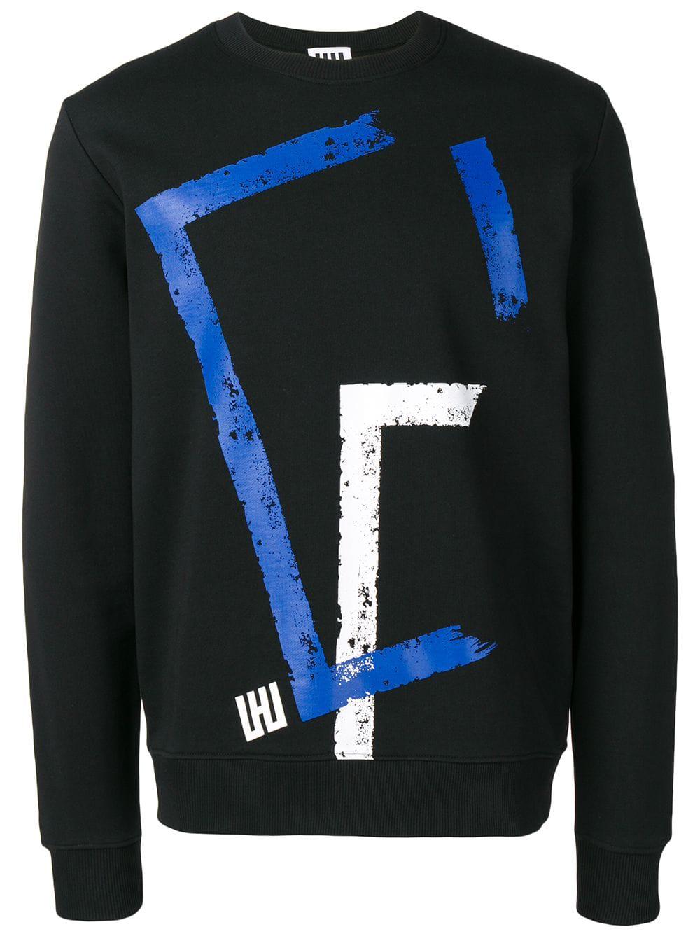 les hommes urban printed crewneck sweatshirt black