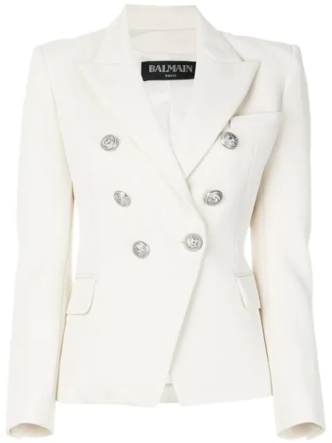 Balmain Women's White Textured Double-Breasted Cotton Blazer