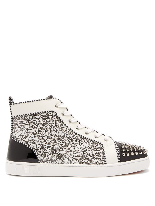 1154f8e4eafb Christian Louboutin Lou Spikes Orlato High-Top Leather Trainers In Black