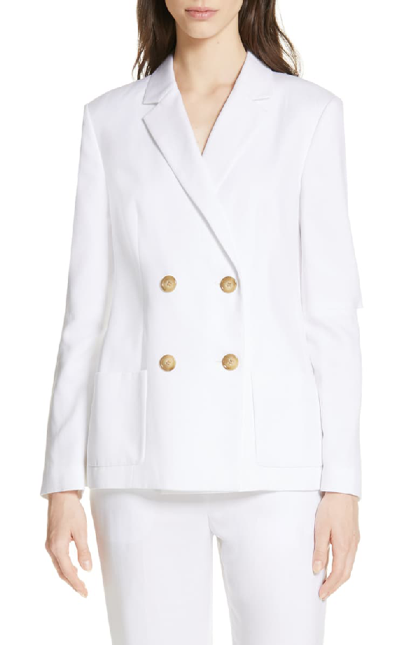 Tibi Spring Suiting Blazer With Slit Sleeves In White