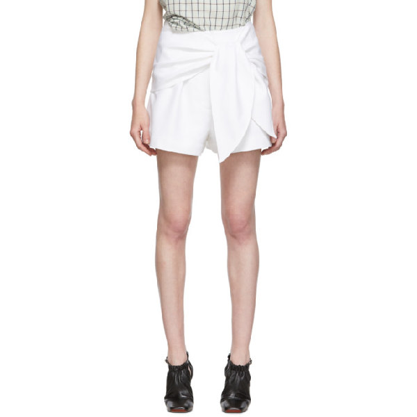 Tibi Compact Cotton Shorts With Removable Tie In White