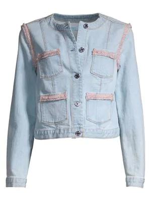7 For All Mankind Collarless Fringed Denim Jacket In Sky Hi Blue 8