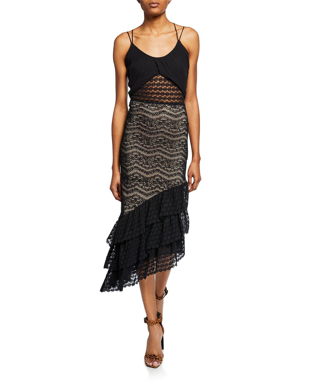7bfe8a9dd5414d Nightcap Clothing Maya Sleeveless Asymmetric Lace Dress In Black
