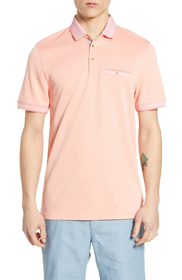 Ted Baker Frog Flat Knit Polynosic Regular Fit Polo Shirt In Coral