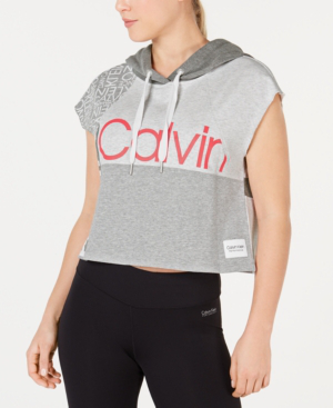 Calvin Klein Performance Colorblocked Sleeveless Cropped Hoodie In Blood Orange Combo