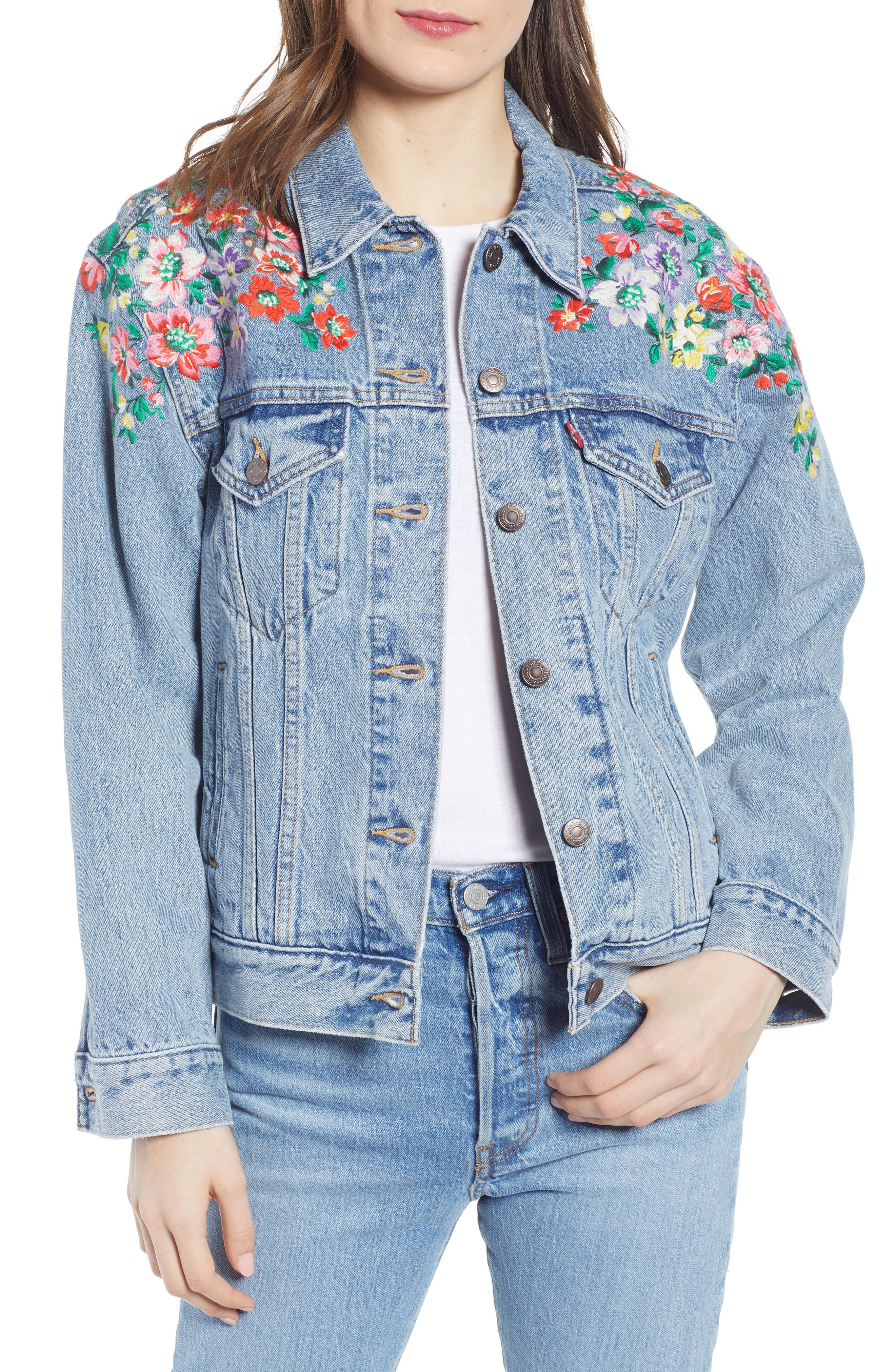 987c60b018 Levi's Ex-Boyfriend Embroidered Denim Trucker Jacket In Hearts Of Flowers