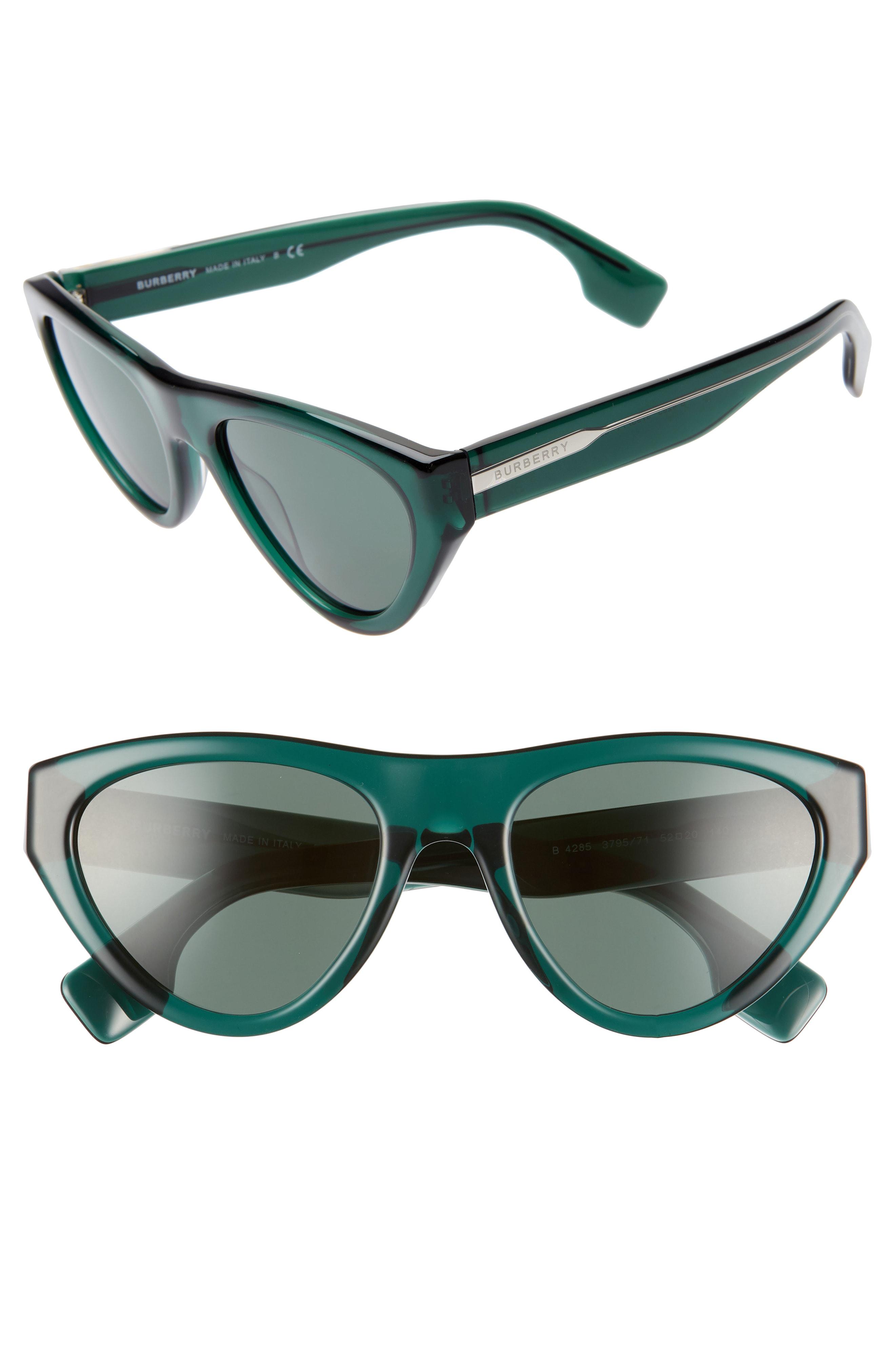 26e192f0db Burberry 52Mm Cat Eye Sunglasses - Transparent Green