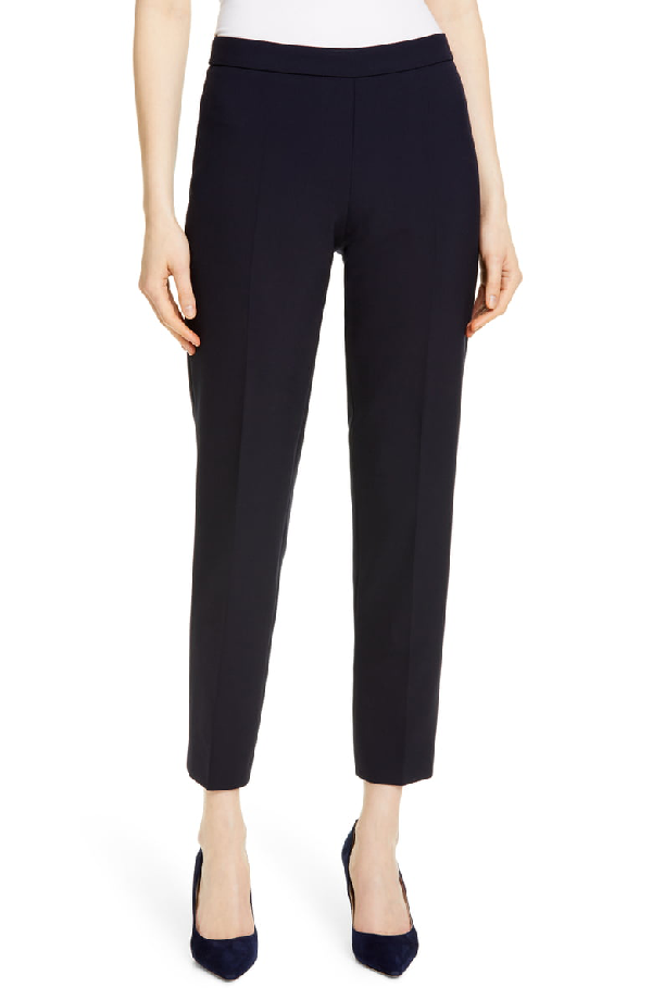 Boss Tiluna Soft Stretch Side Zip Ponte Trousers In Navy