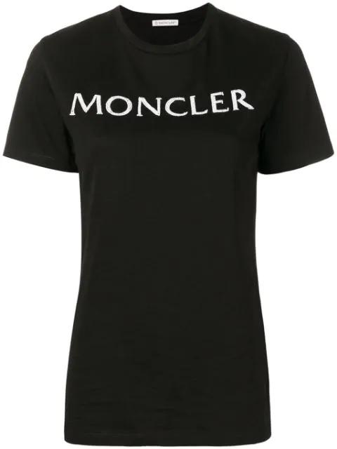 Moncler Embellished Logo T-shirt In Black