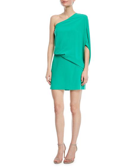 Halston Heritage One-Shoulder Asymmetric-Sleeve Dress In White