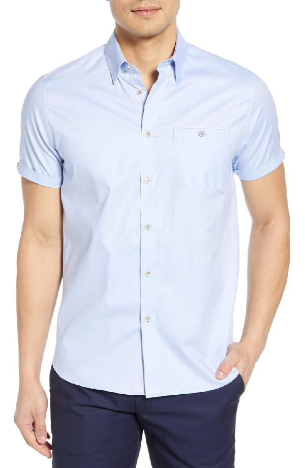 Ted Baker Wallabi Slim Fit Oxford Shirt In Blue