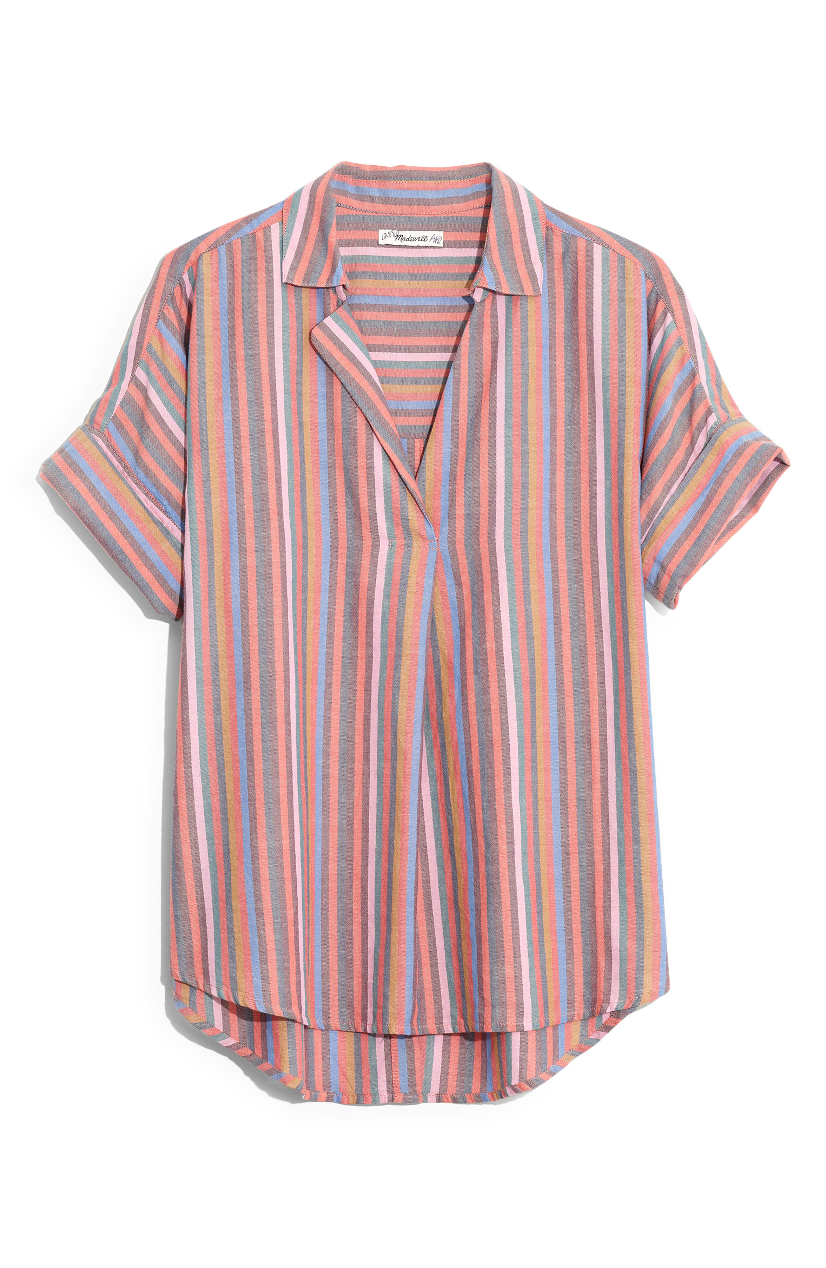 b4c13309daef99 Madewell Courier Rainbow Stripe Button Back Shirt In Mulled Wine Smith  Stripe