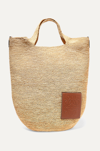 Loewe + Paula's Ibiza Slit Leather-trimmed Woven Raffia Tote In Tan