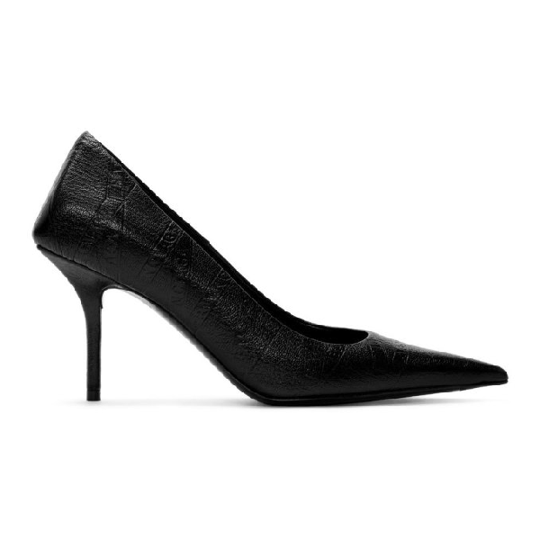 Balenciaga Black Leather Pointed Heels In 1000 Black