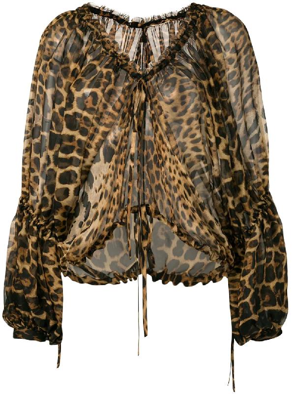 fb3592e99592cf Saint Laurent Leopard-Print Silk Chiffon Peasant Blouse In 9665 Leopard