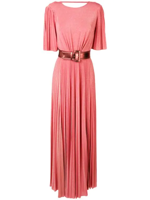 Elisabetta Franchi Belted Pleated Dress In Pink