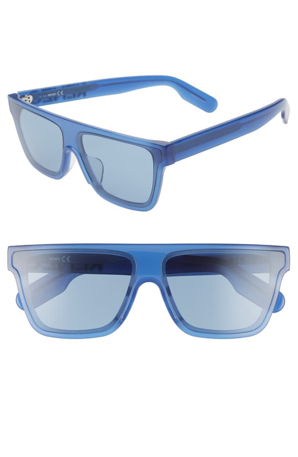 Kenzo 67mm Special Fit Oversize Flat Top Sunglasses In Crystal Blue/ Blue