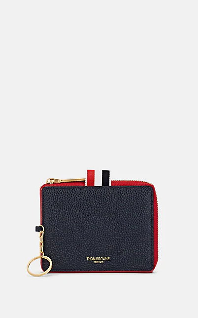 Thom Browne Triangle Leather Coin Case In Multi