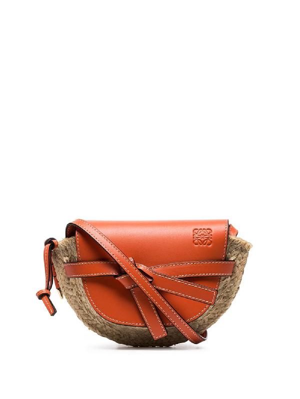 f1d2bf2c7 Loewe Gate Mini Leather & Raffia Crossbody Bag - Orange | ModeSens