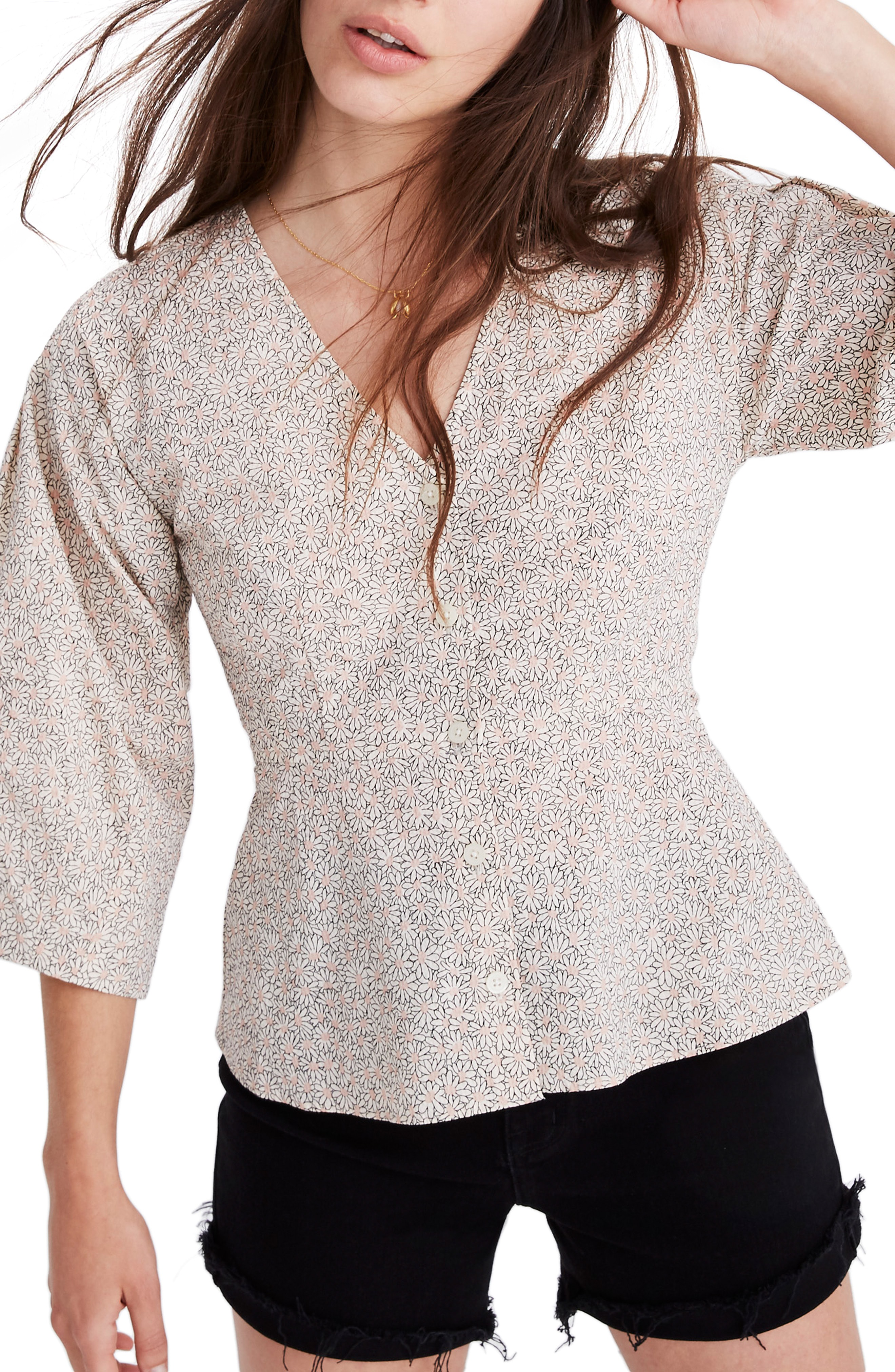 fd691213dba Madewell Florentine Daisy Patch Peplum Top In Daisy Dot Antique Lace ...
