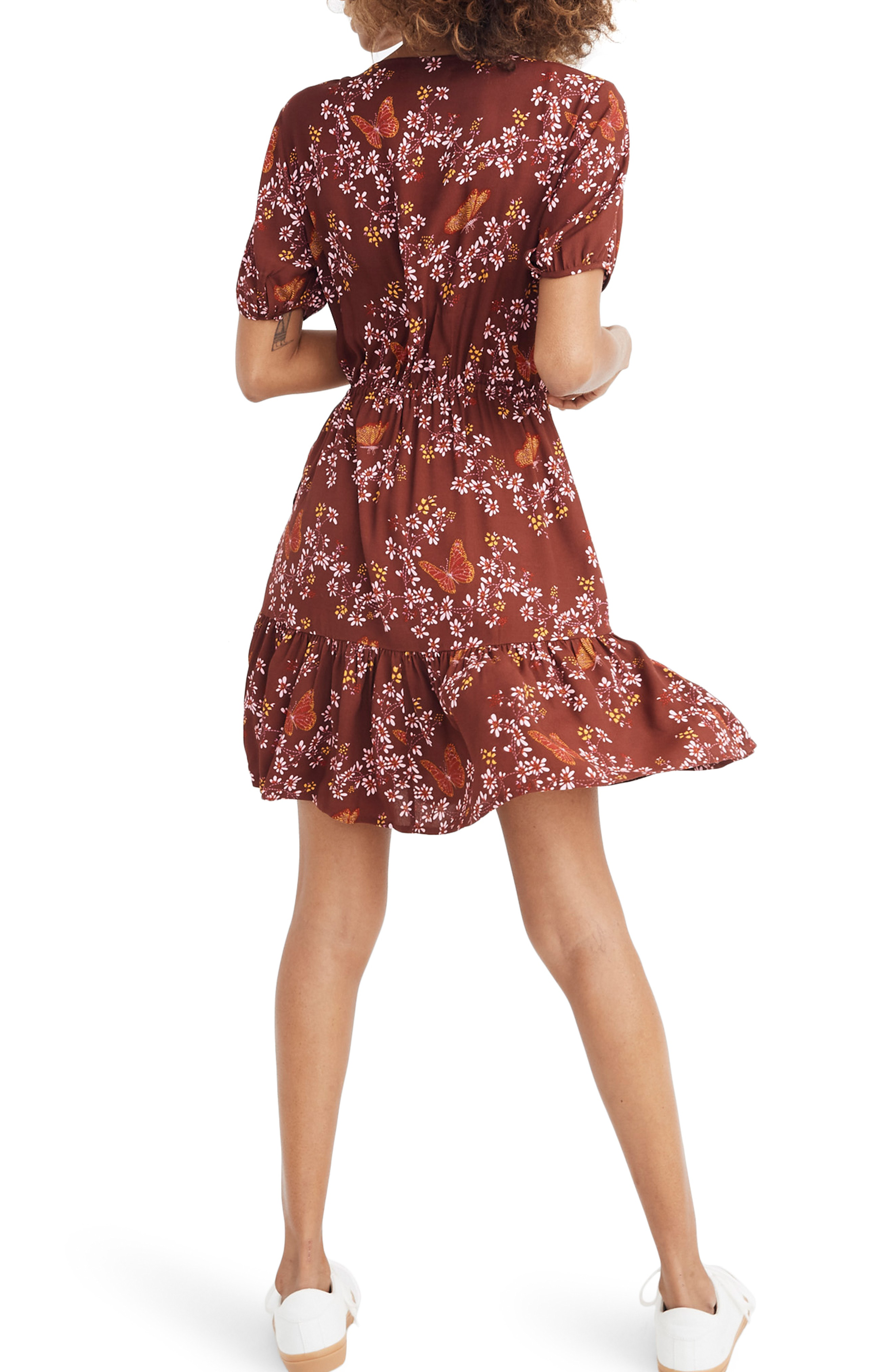 3802ed15a98 Madewell Windowbox Floral Ruffle Faux Wrap Dress In Butterfly Rich Burgundy