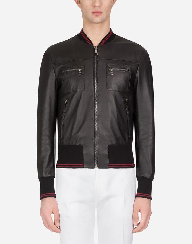 Dolce & Gabbana Leather Jacket In Black