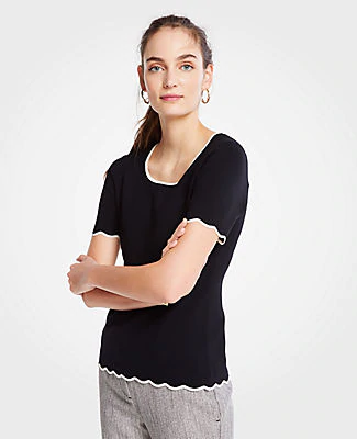 Ann Taylor Petite Scalloped Sweater Tee In Black