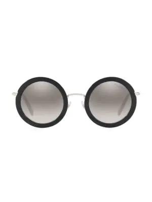 Miu Miu 59us 48mm Round Sunglasses In Black