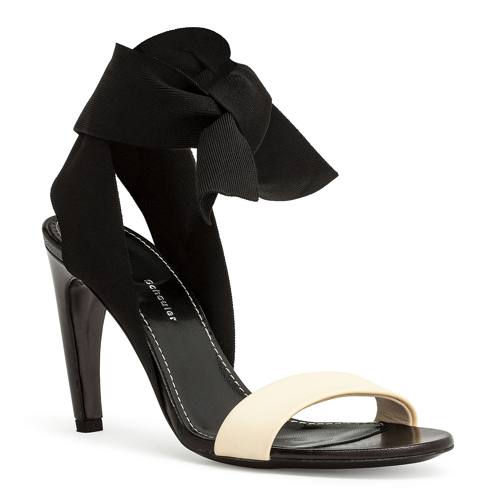 Proenza Schouler Ankle Tie Curved Heel Sandals In Black/White