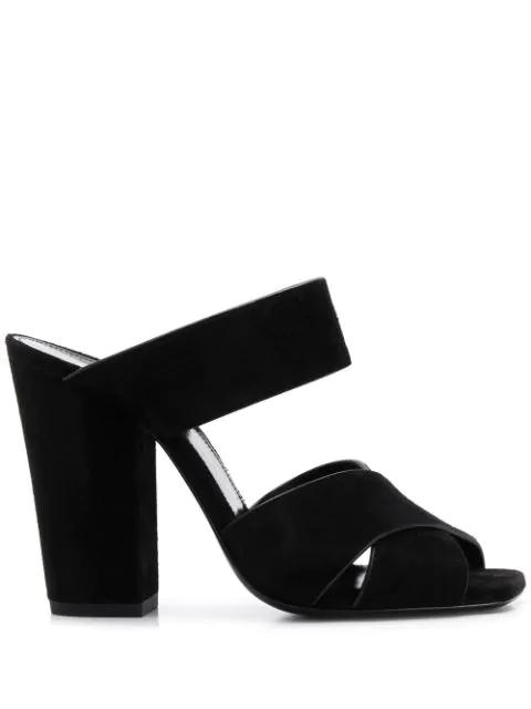 Saint Laurent Jodie Suede Block-Heel Sandals In 1000 Black