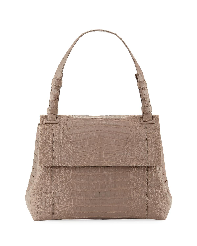Nancy Gonzalez Sophie Crocodile Shoulder Bag In Taupe