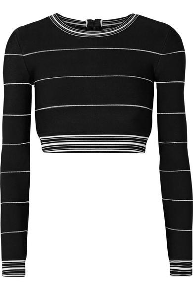 Herve Leger Cropped Striped Bandage Top In Black
