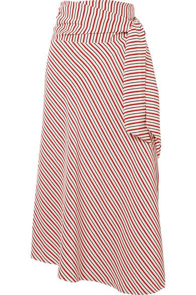 b9c84da1284 Vanessa Bruno Liliana Striped Silk Crepe De Chine Wrap Skirt In Red ...
