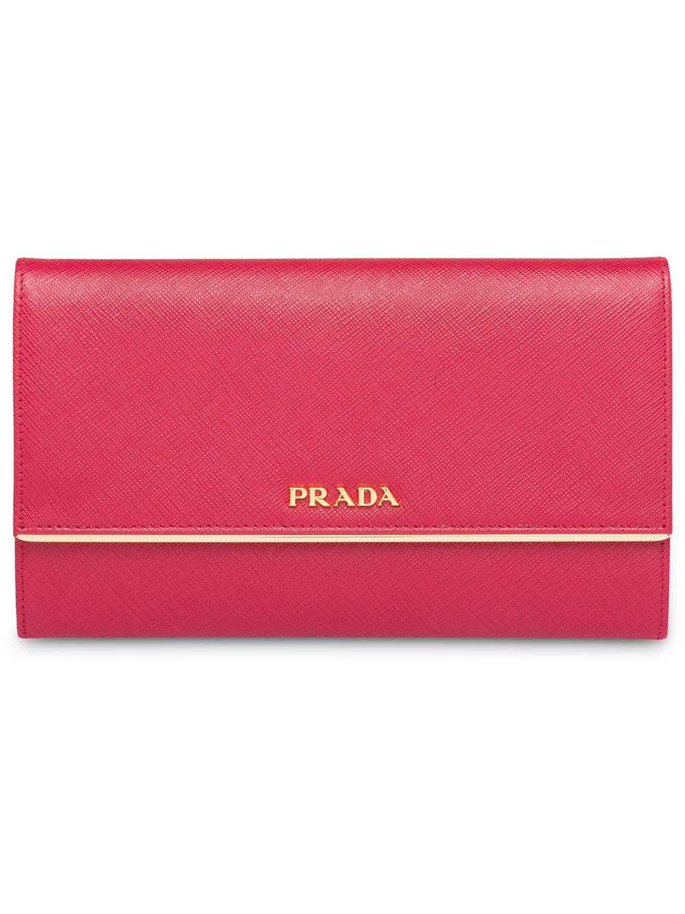 f340d7099edb1 Prada Portemonnaie Aus Saffiano-Leder - Rot In Black