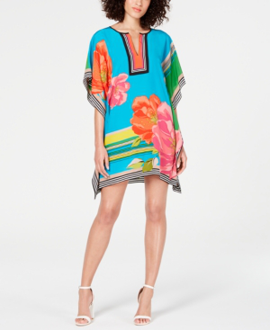 Trina Turk Theodora Fly Over Floral Silk Tunic Dress In