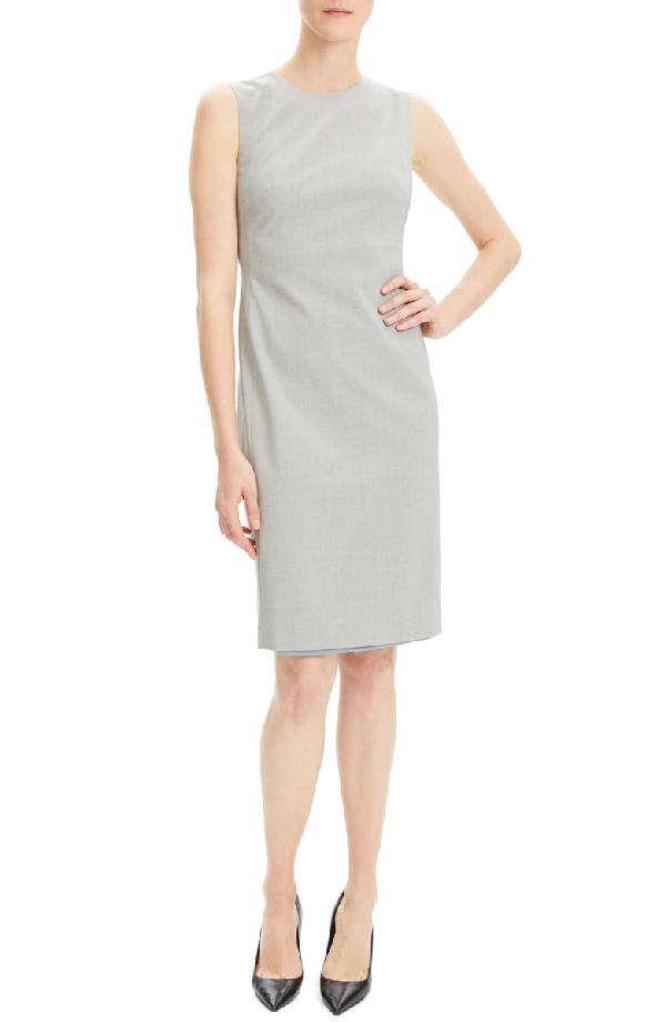 Theory Eano Sleeveless Good Wool Suiting Dress In Light Grey Melange