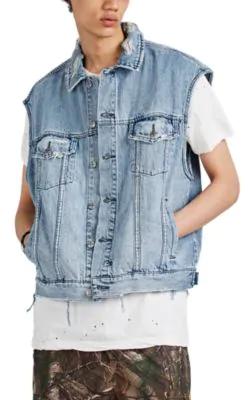 Ksubi Vice Acid-Washed Distressed Cotton Denim Vest In Blue