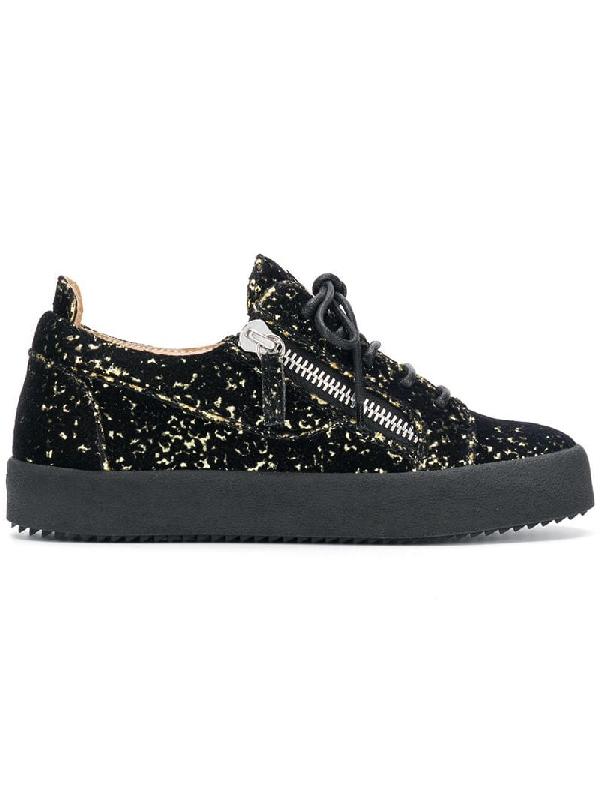 524f3584d20f1 Giuseppe Zanotti Nicki Low-Top Glitter Sneakers In Black | ModeSens