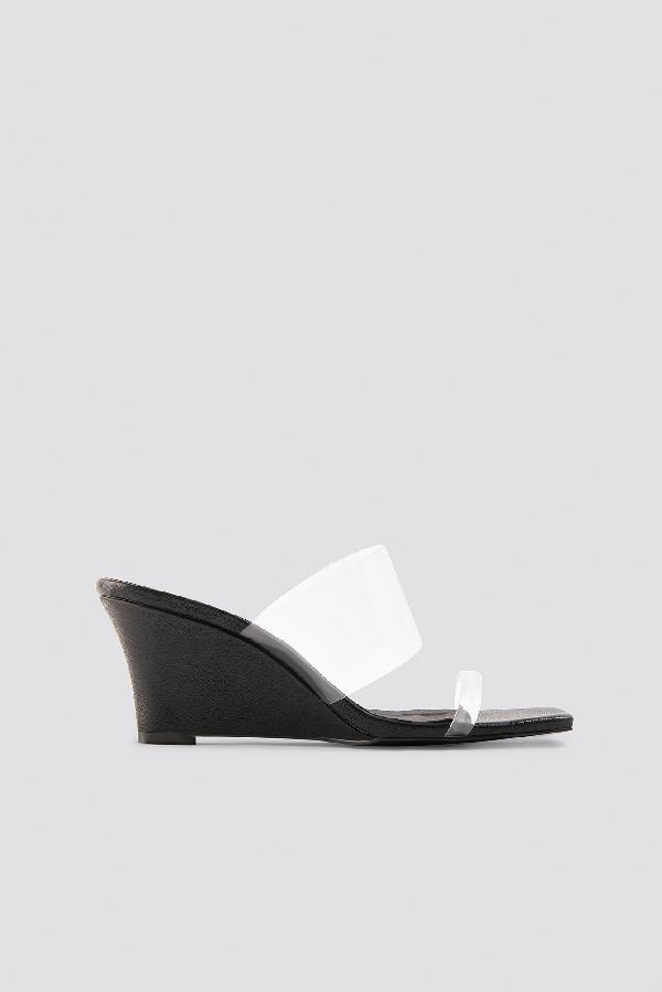 Na-kd Transparent Wedge Heel Sandals - Black