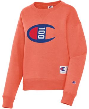 Champion Century Logo Sweatshirt In Groovy Papaya