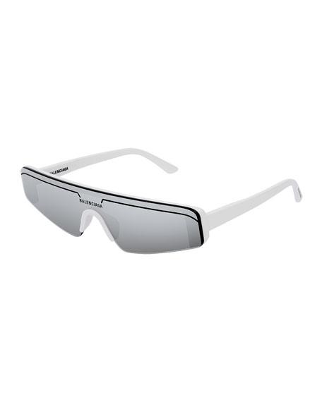 Balenciaga Men's Ski-Style Mirrored Sunglasses In White