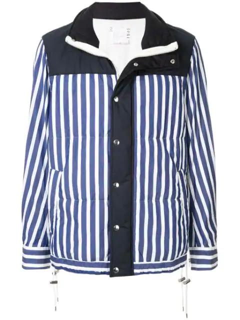 Sacai Striped Hybrid Jacket In 428 Blue×white Stripe