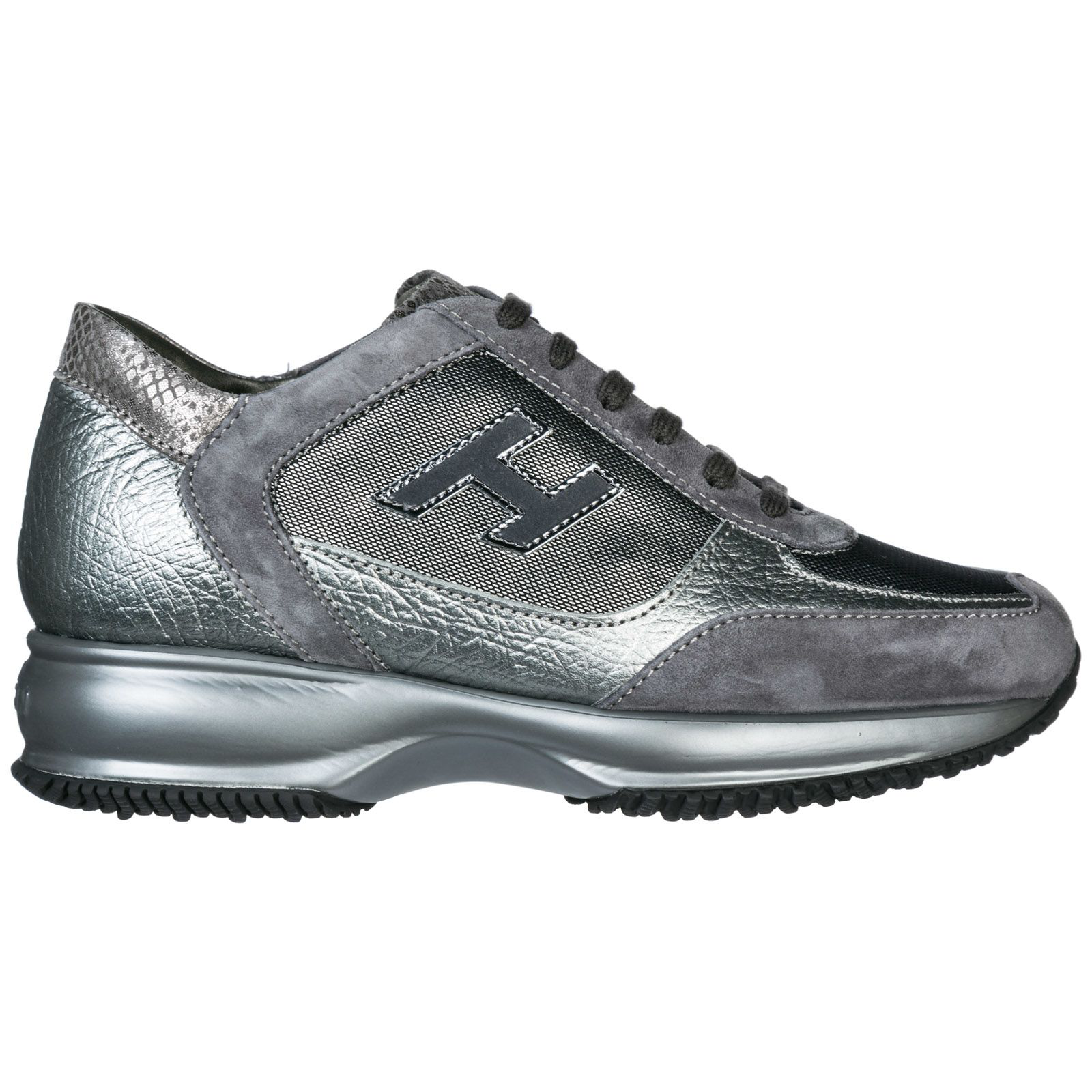 Hogan Shoes Leather Trainers Sneakers Interactive In Argento ...