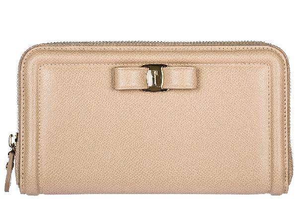 Salvatore Ferragamo Women's Wallet Leather Coin Case Holder Purse Card Bifold In Beige